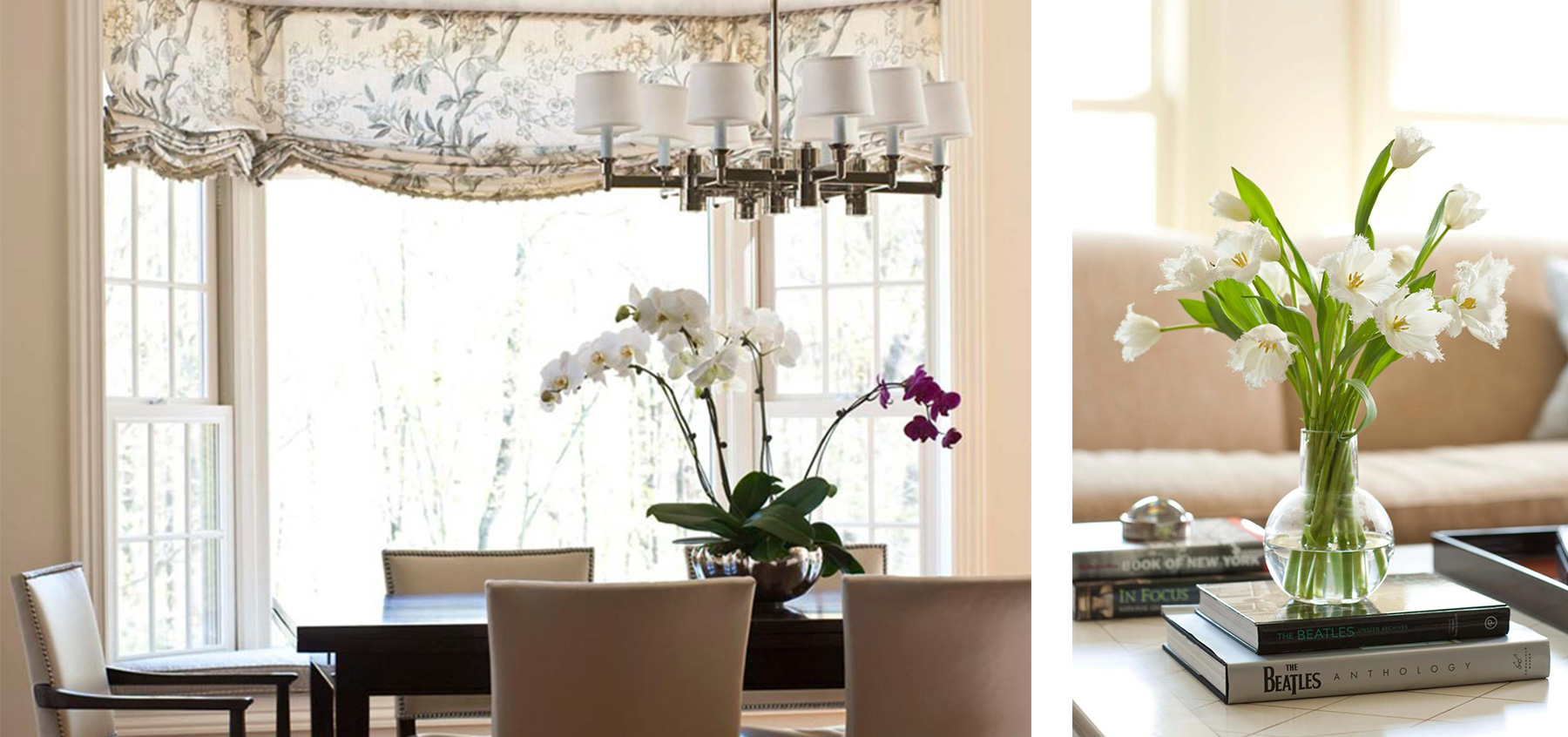 01 dining table chandelier coffee table flower books