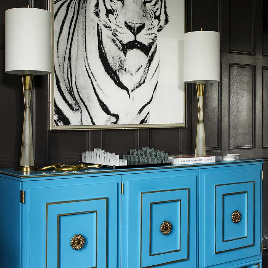 030 Interior Design Black And White Tiger Pop Art Blue Cabinet