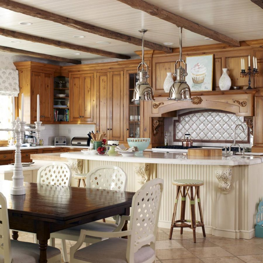 -kitchen-island-table-chairs-stools-lighting-backsplash-cabinets